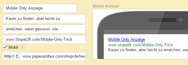 mobile only adwords fenster